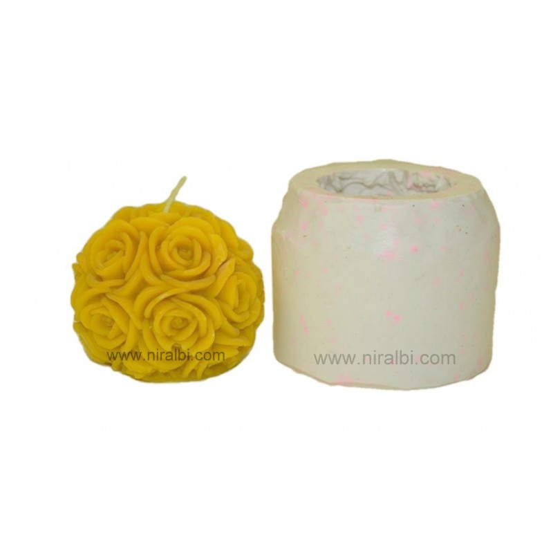 Big Rose Ball Rubber Candle Mold