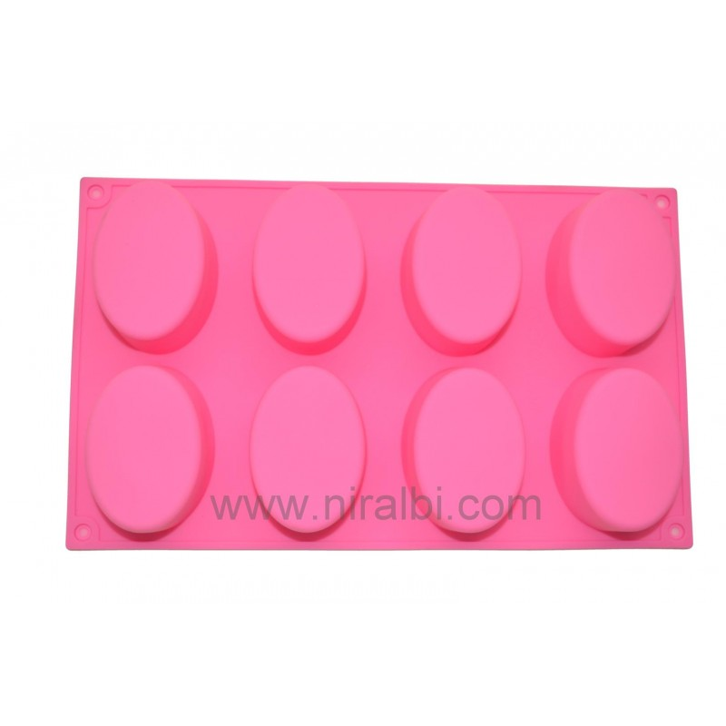 8 Cavities Oval Soap Mould