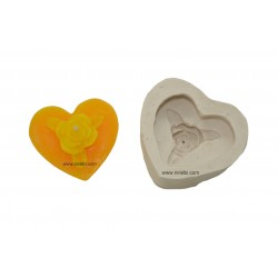 Niral Rose Flower On Heart Design Silicone Candle Mold SL177