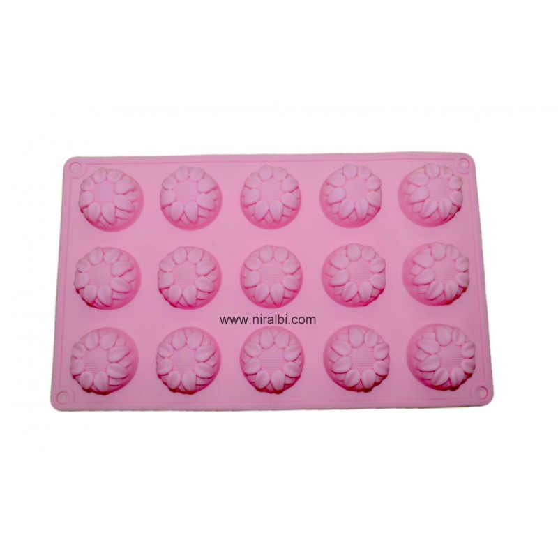 Small Designer Flower Tray Type Rubber Mold For Making Soaps, Chocolate And Cakes