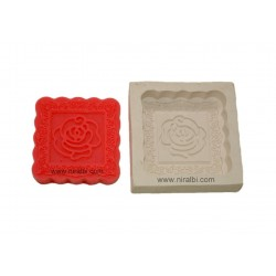 Rose Square Shape Rubber Soap Mould