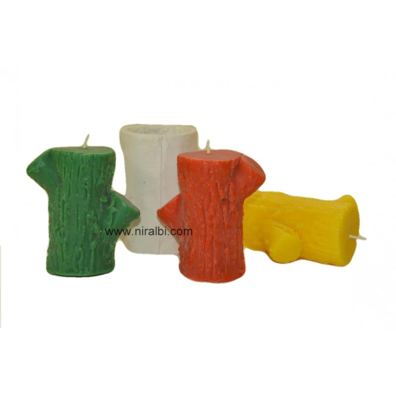 Tree Wood Silicone Rubber Candle Mould, 220 gm Candle Weight