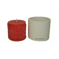 Leaf Designer Pillar Rubber Candle Mould, Niral Industries, 250 gm Candle Wt