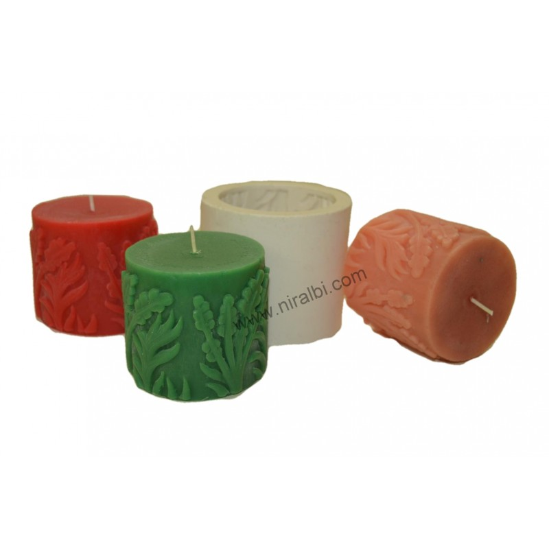 Leaf Designer Pillar Rubber Candle Mould