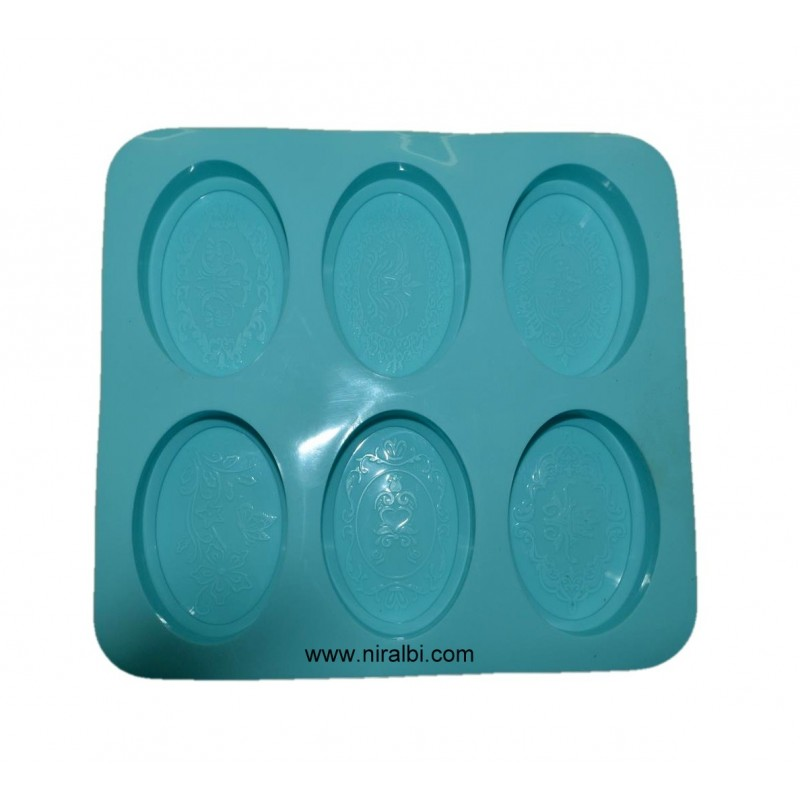 6 Cavity Designer Oval Soap Mould, Soap Wt - 95 gm