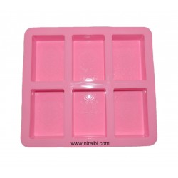 Rectangle Designer Soap Mould, 6 cavity , 110 gm