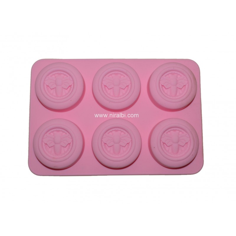 Designer Honey Bee Rubber 6 cavity Soap Mould