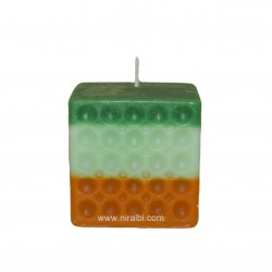 Niral Designer Pillar Candle Mould With Hole Pattern In Square, Candle Wt - 165 gm