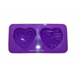 2 Cavities Heart Shape Soap Mould, Niral Industries