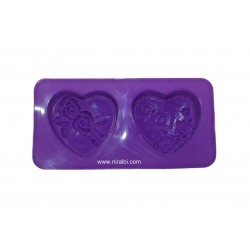 2 Cavities Designer Heart Shape Soap Mould - 60 gm