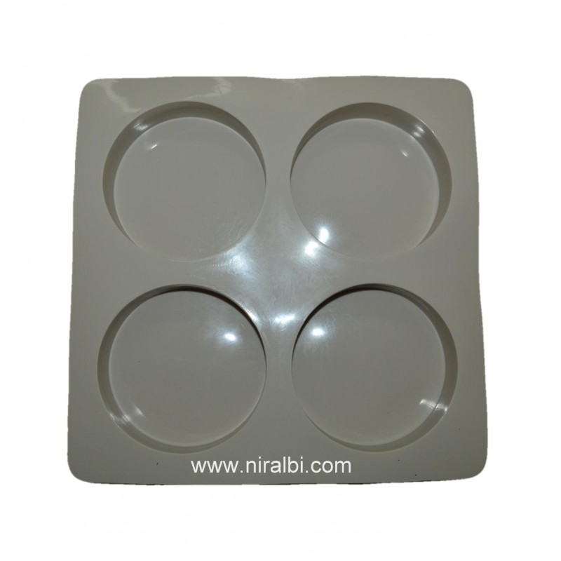 Big Round 4 Cavities Rubber Soap Making Mould