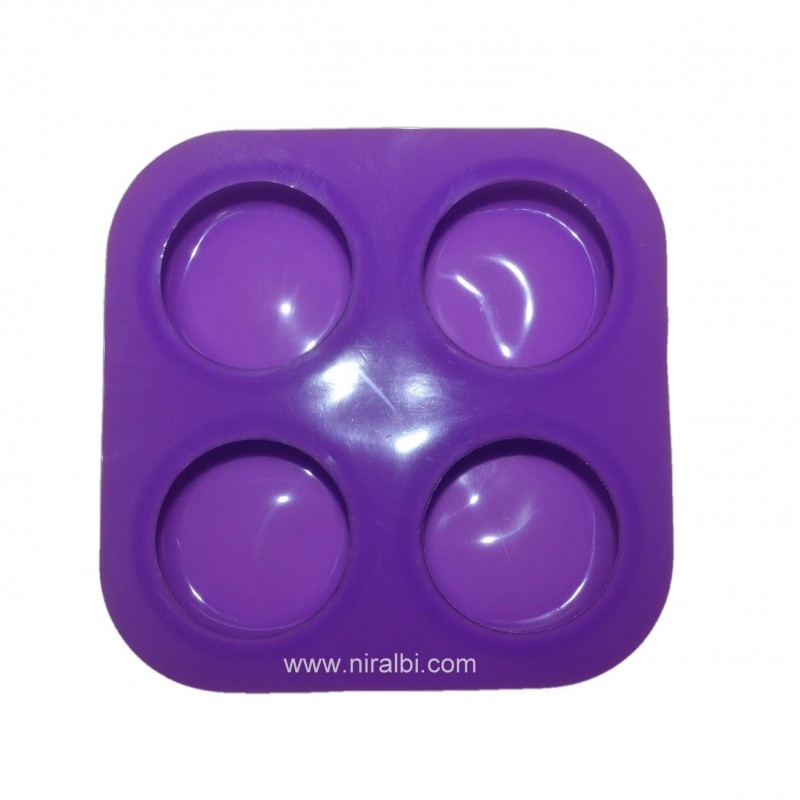 Round Shape Rubber Soap Mould - 4 cavity