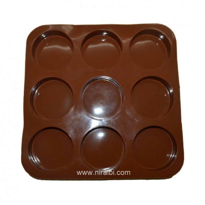 9 cavity Round Shape Silicone Soap Mold