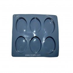 Rounded Oval Rubber Soap Making Mold, Soap Wt - 45 gm