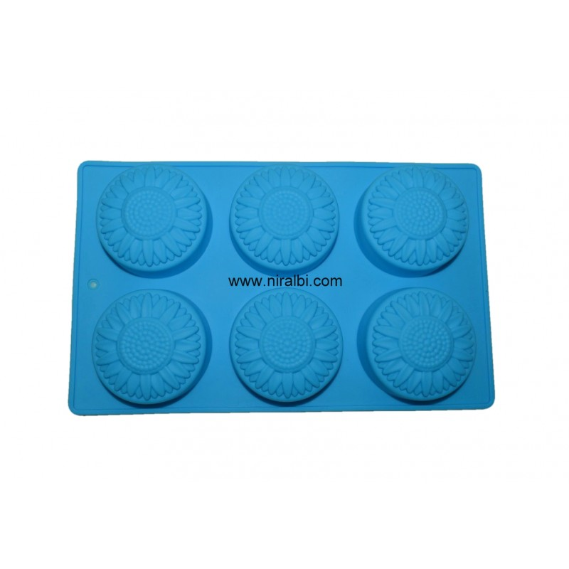 Designer Flower with Round 6 cavity Soap Silicone Mould