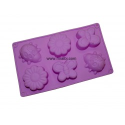 Designer Flower, Butterfly Silicone Soap Mould - 6 cavity