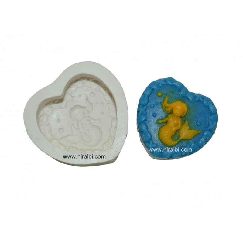 Heart Mermaid Design Silicone Rubber Soap Mould, Nira Industries