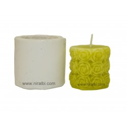 Rose Pillar Silicone Rubber Candle Mould