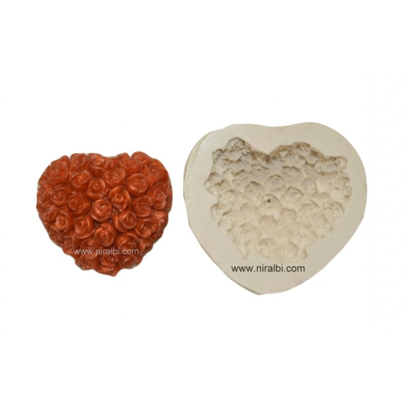 3D Cute Roses In Heart Shape Rubber Mould