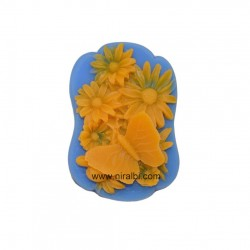 Butterfly With Flowers In Designer Shape Rubber Soap Mould