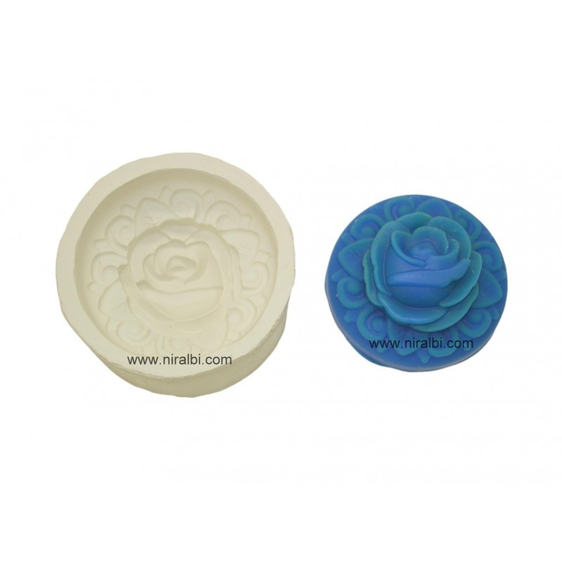 3D Rose In Rounded Soap Making Mould