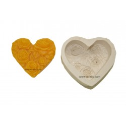 Heart Rose Design Silicone Soap Mould