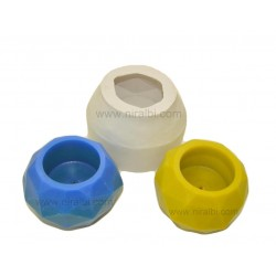 Diamond Cut Round Hurricane Silicone Rubber Candle Mould