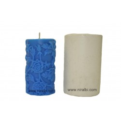 Rose Pillar Rubber Candle Mould