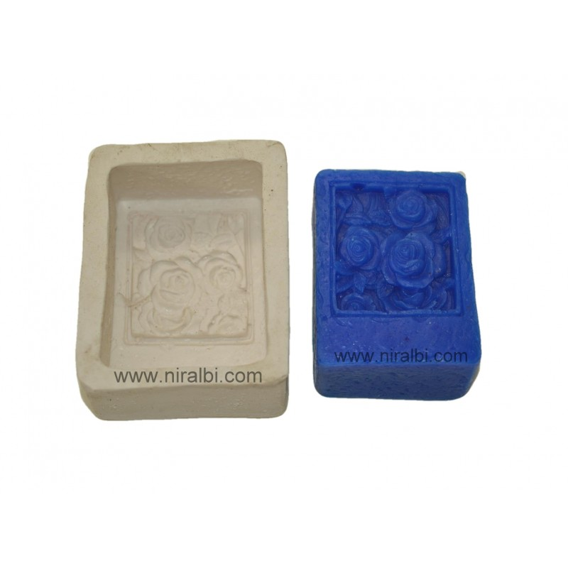 Rose Flower In Square Shape Soap Making Mould