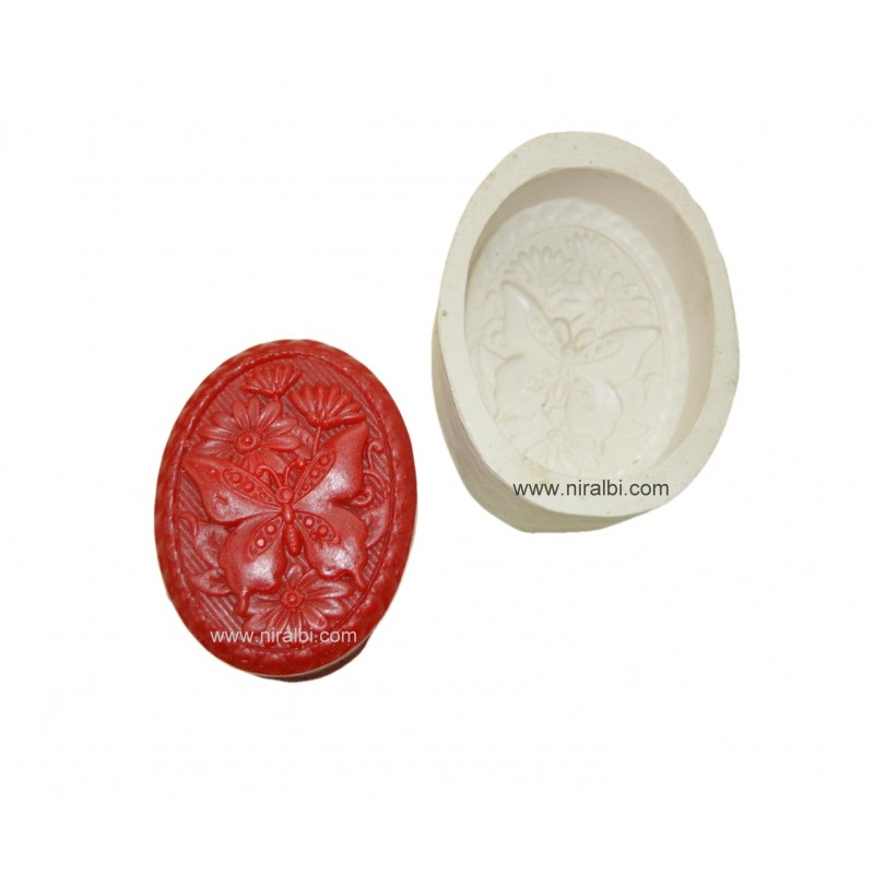 Butterfly Design In Oval Shape Silicone Soap Mold