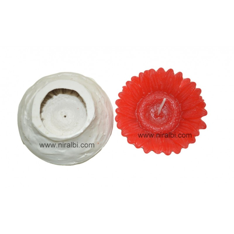 Rubber Floating Flower Candle Mould SL473